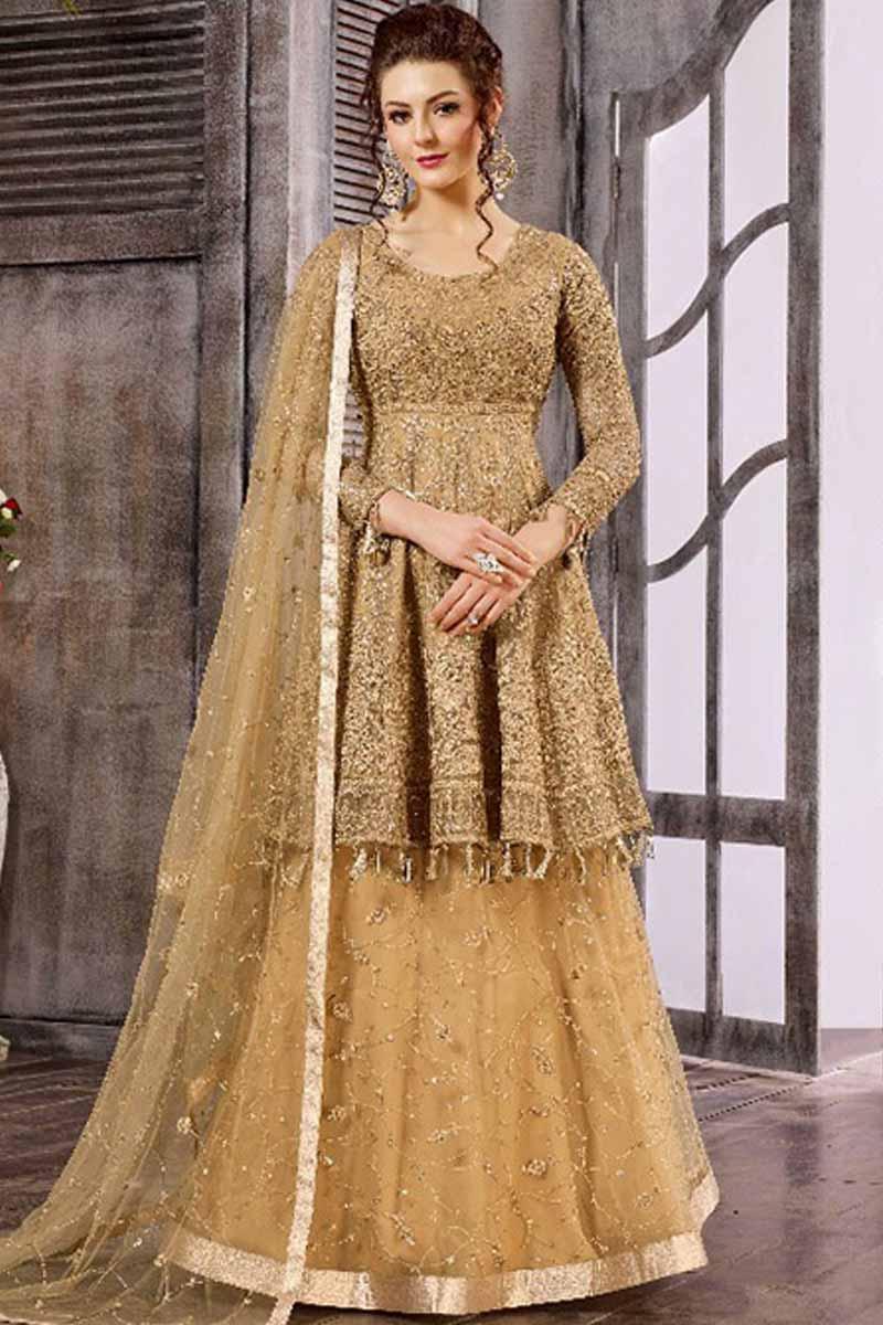Golden Net And Satin Lehenga Choli