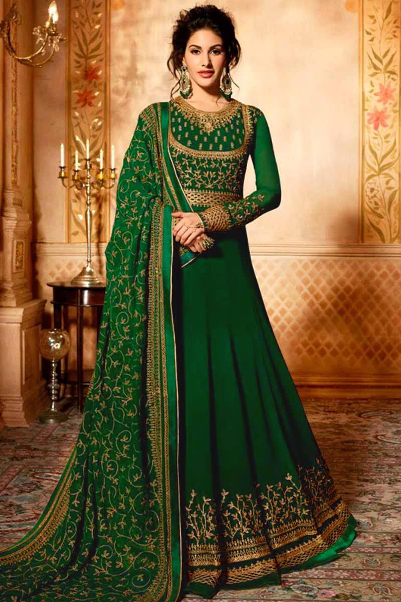 Georgette Green Anarkali Suits USA - Resham Embroidered Georgette Green Anarkali Suit