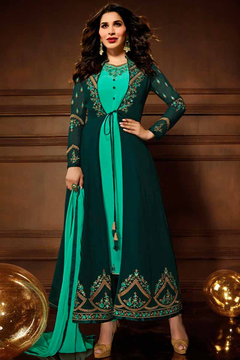 Georgette Churidar Suit In Green Color