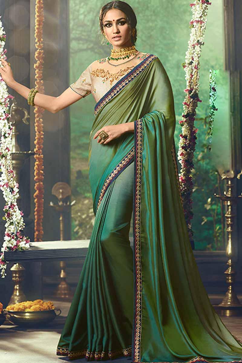 Buy Green Silk Saree With Silk Blouse Online Sarv01076