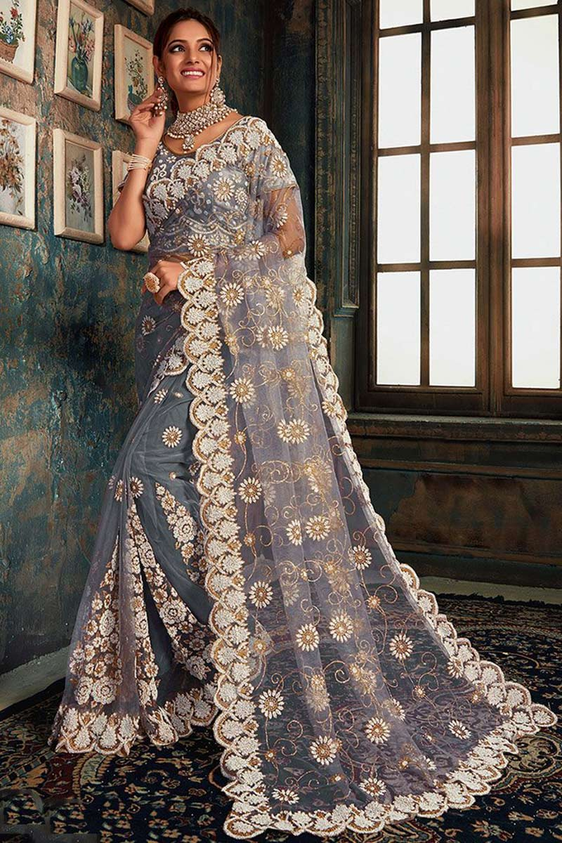 Grey Party Wear Net Saree With Net Blouse