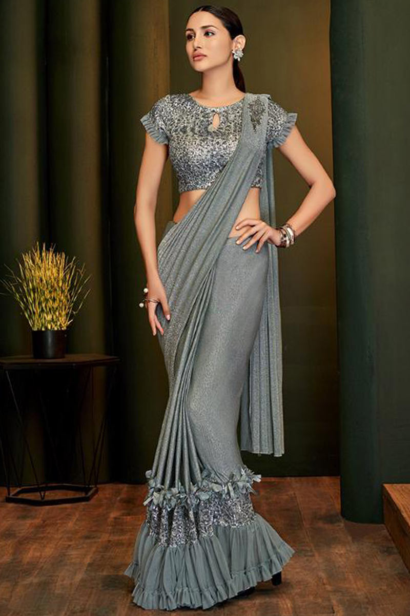 Grey Shimmer Lycra Saree With Sequins Blouse