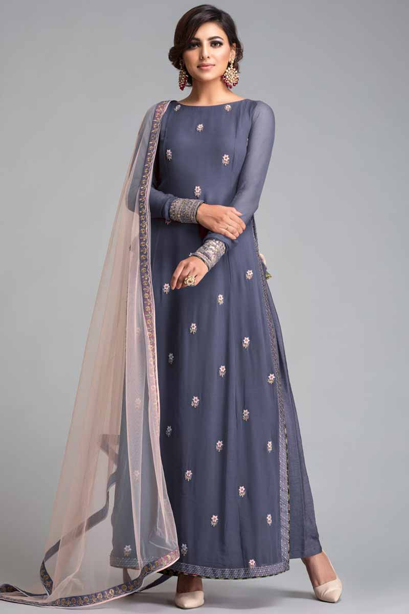 Dolphin Blue Grey Crepe Trouser Suit With Resham Work