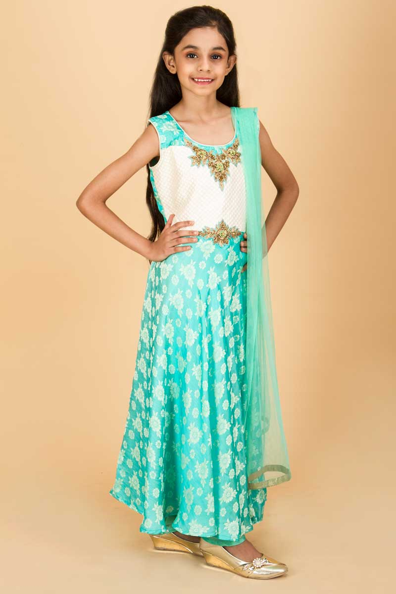 Sea Blue Sleeveless Anarkali Suit With Zari And Resham Work