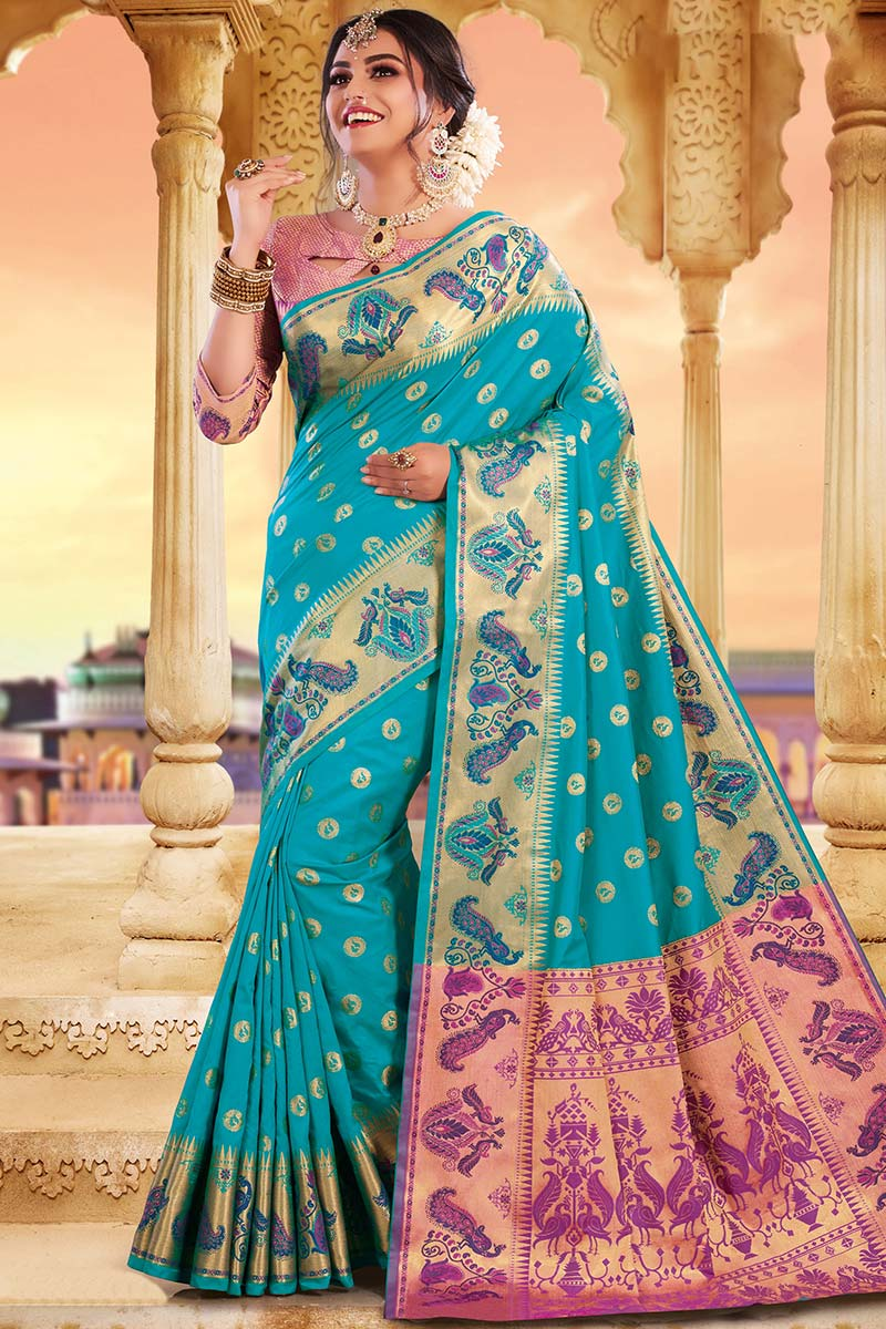 Light Blue Bhagalpuri Silk Saree With Silk Blouse