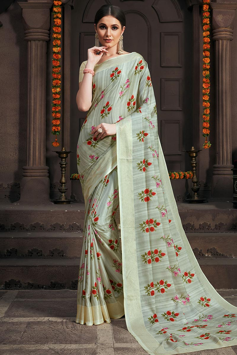Light Dusty Green Handloom Saree With Cotton Blouse