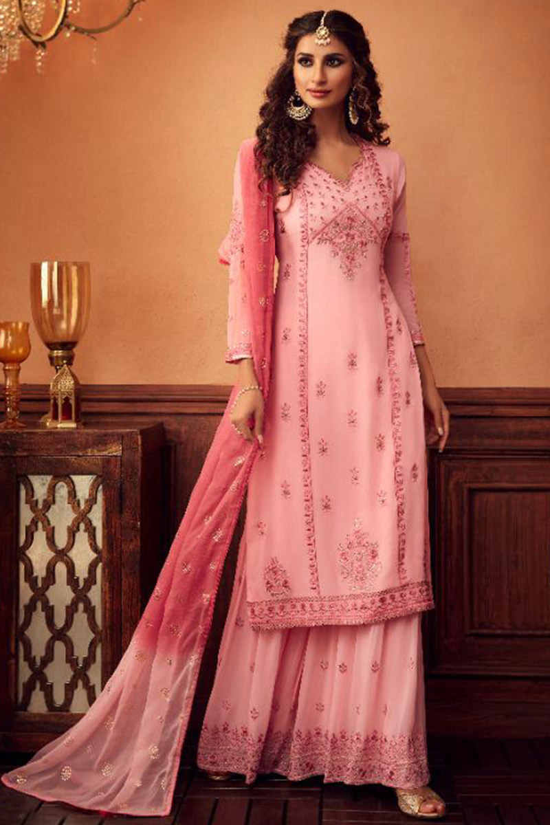 Light Pink Georgette Sharara Suit With Gota Patti Work