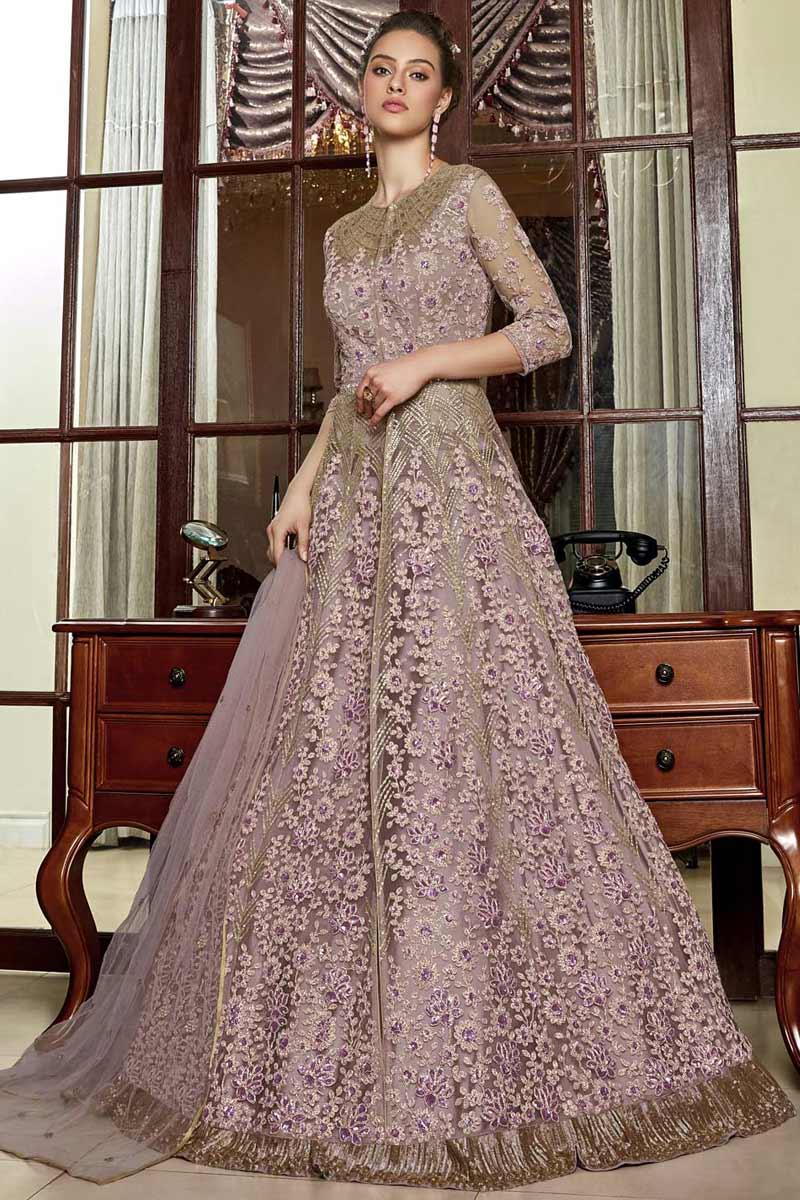 Light Purple Net Anarkali Suit With Dori Work