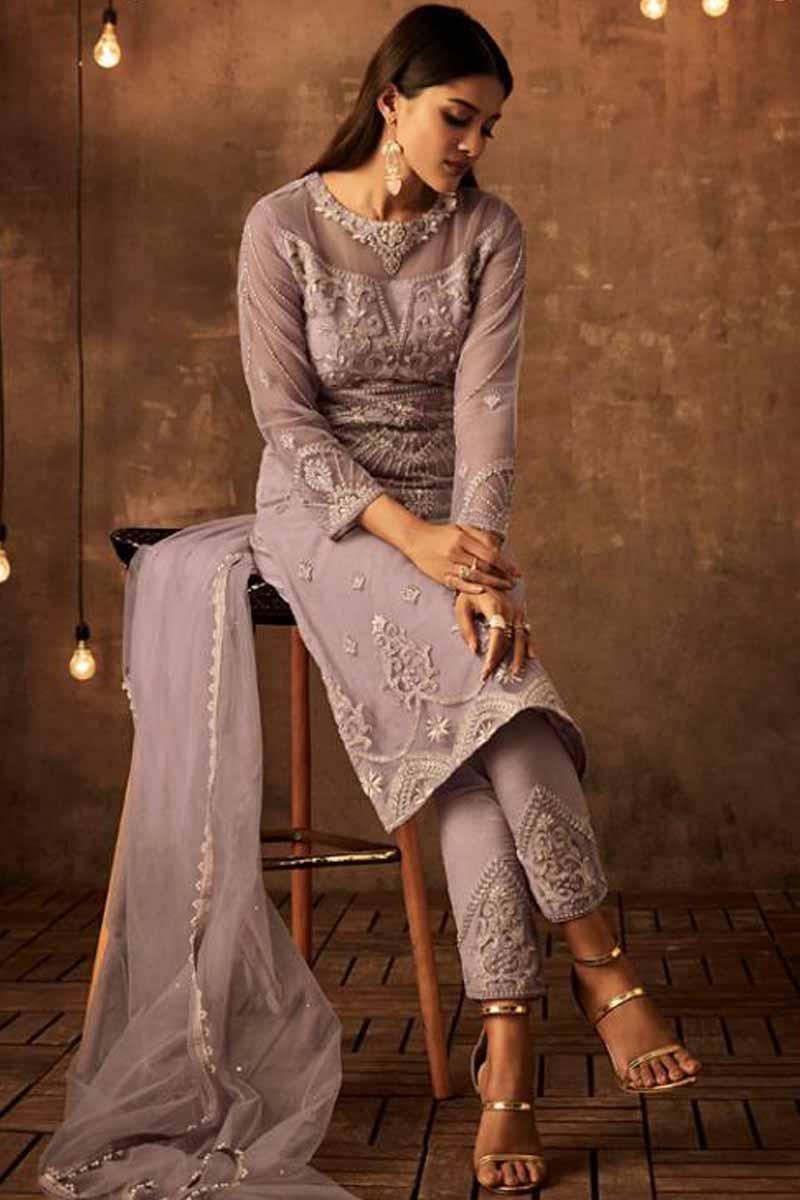 Light Mauve Banglori Silk Cigarette Pant Suit