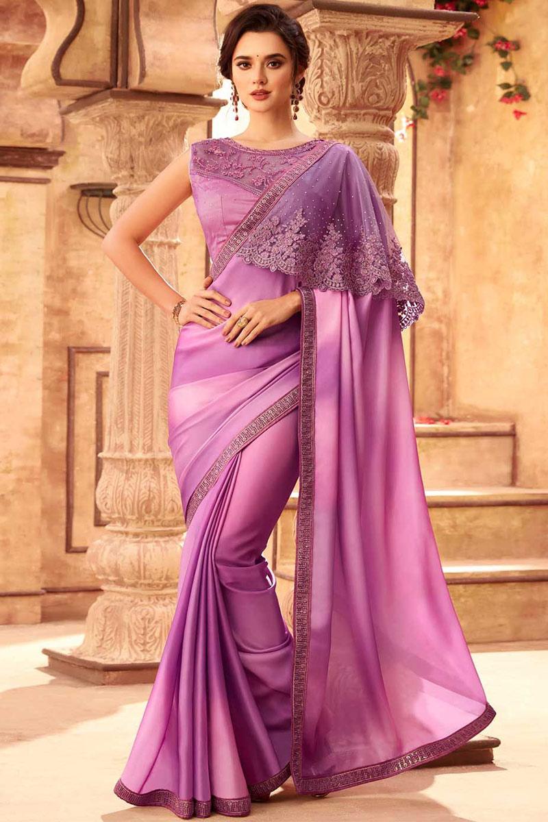 Lilac Purple Silk Saree With Net Blouse