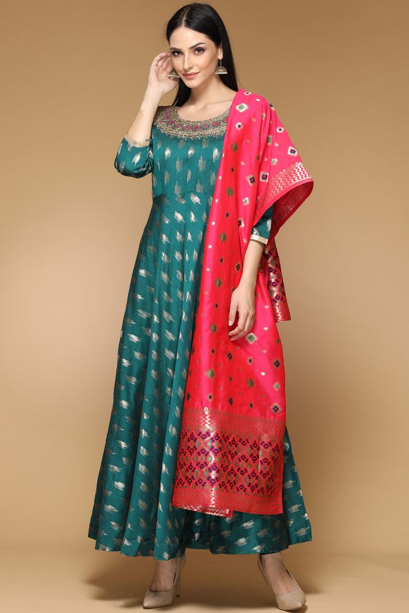 Teal Green Dupion Anarkali Suit - Indian Anarkali Dresses USA, UAE, Australia, Canada