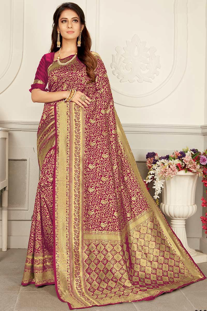 Magenta Banarasi Silk Saree With Silk Blouse