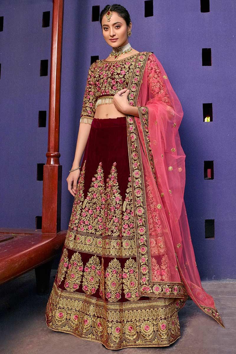 Maroon Color Velvet Lehenga With Velvet Choli