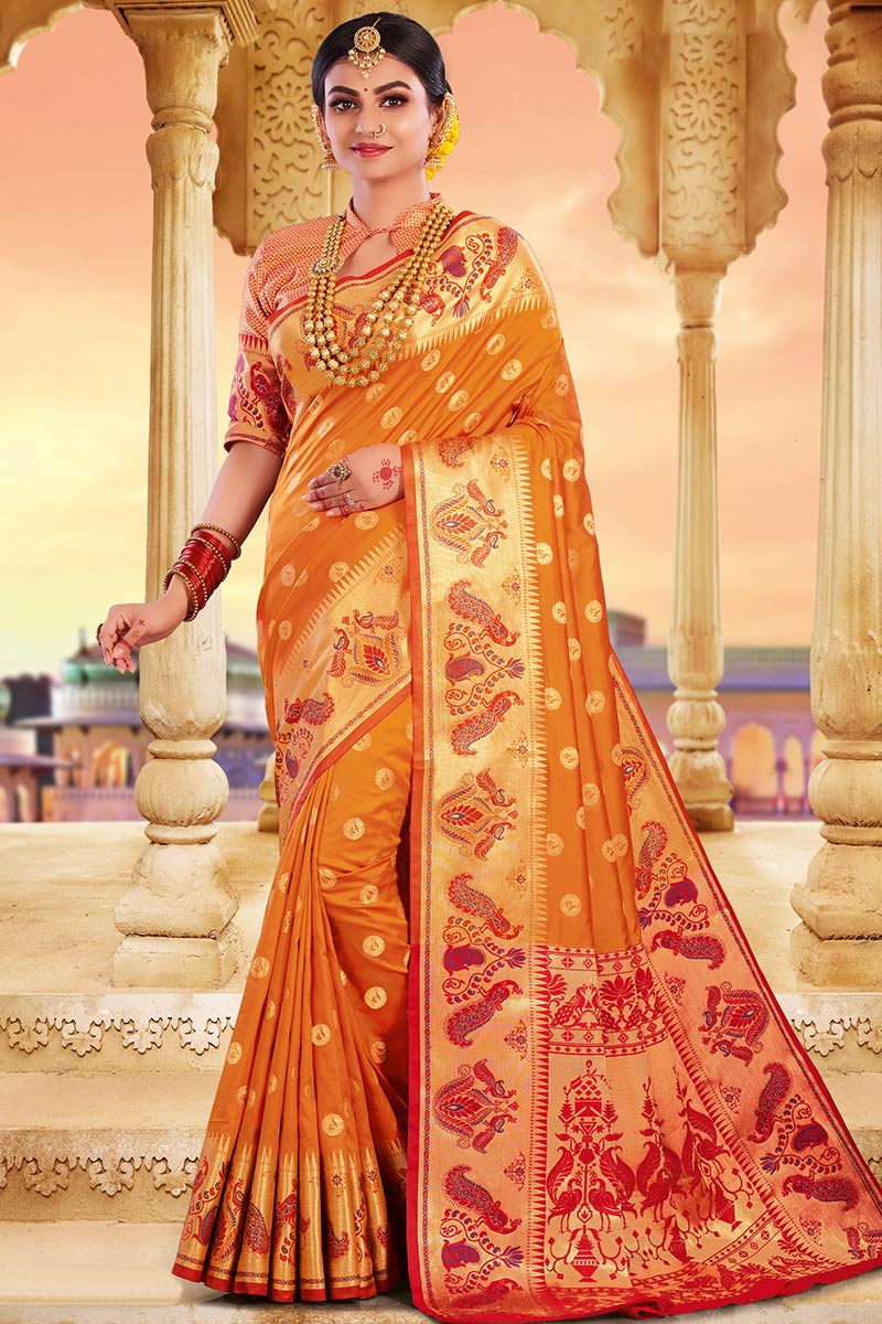 Mustard Color Bhagalpuri Silk Saree With Silk Blouse