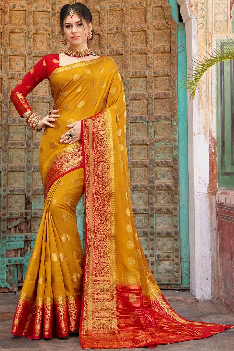 Mustard Kanjivaram Silk Saree With Silk Blouse