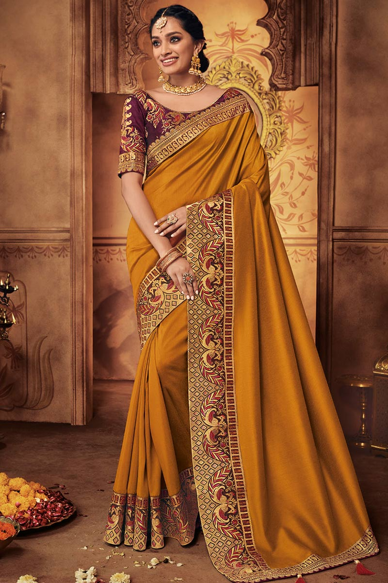 Mustard Yellow Silk Saree With Silk Blouse