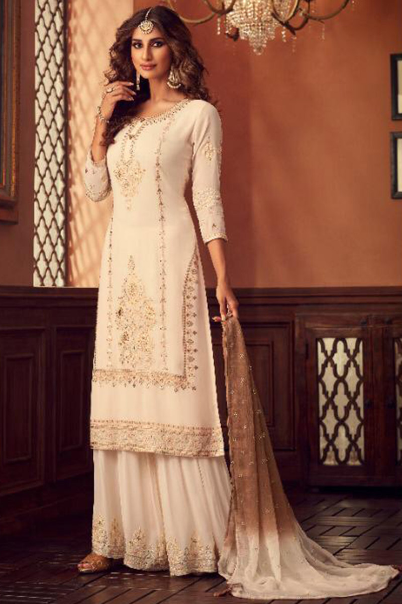 Georgette Sharara Online Canada - Off White Georgette Sharara Suit With Zari Work