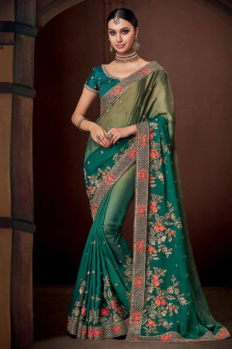 Ombre Green Silk Saree With Raw Silk Blouse