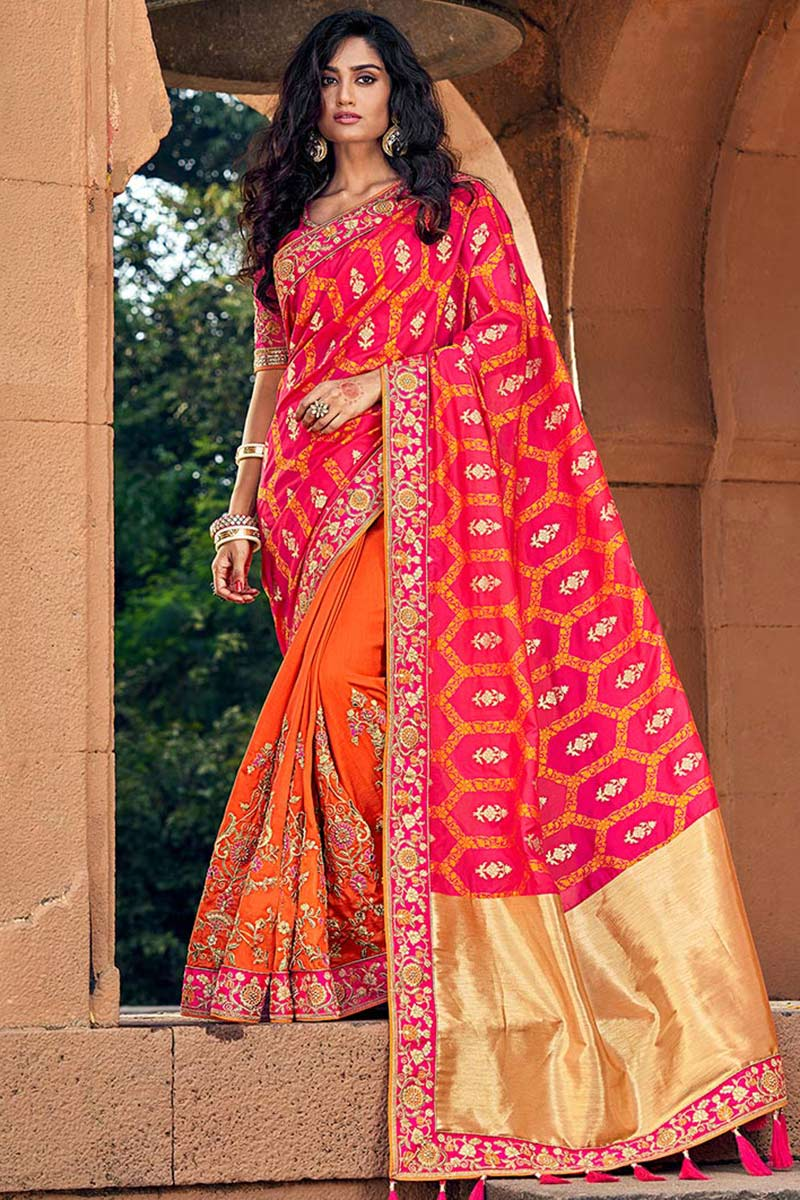 Orange Jacquard Silk Saree With Banglori Silk Blouse
