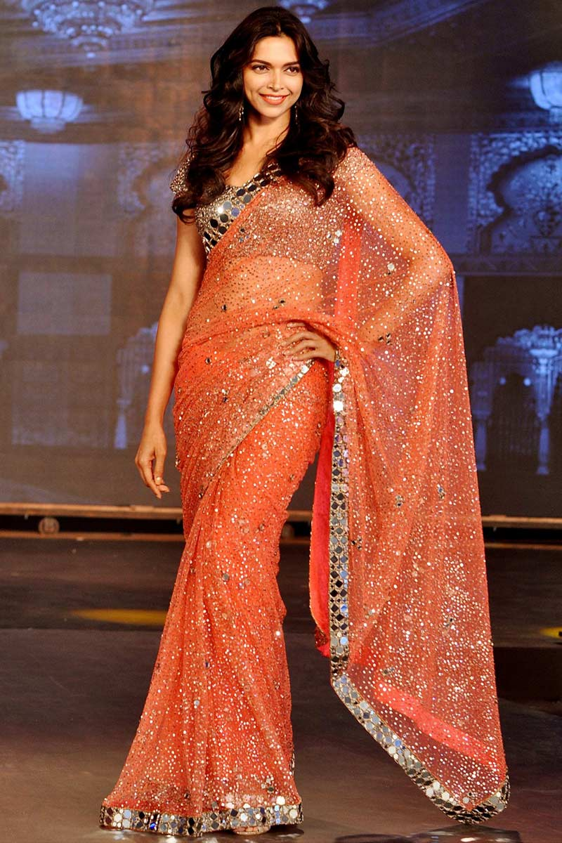 Deepika Padukone Orange Net Mirror Work Saree With Sequence Blouse