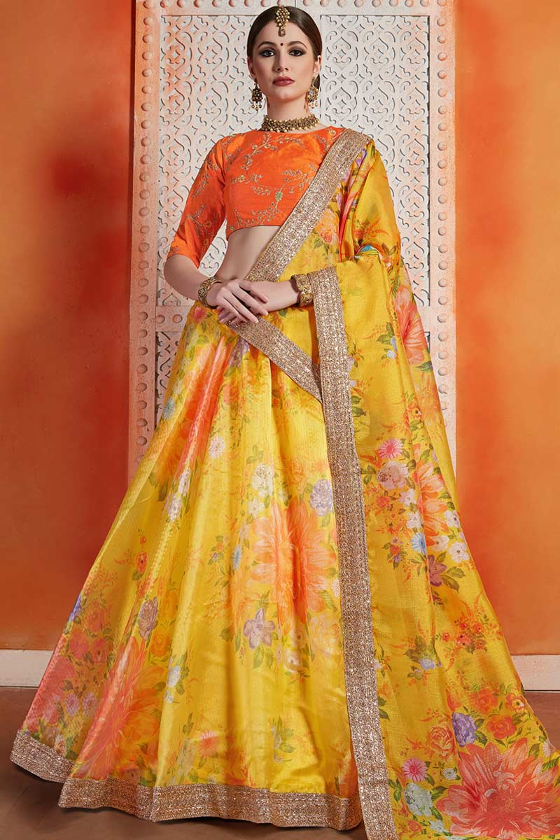 Orange Raw Silk Choli With Organza Lehenga
