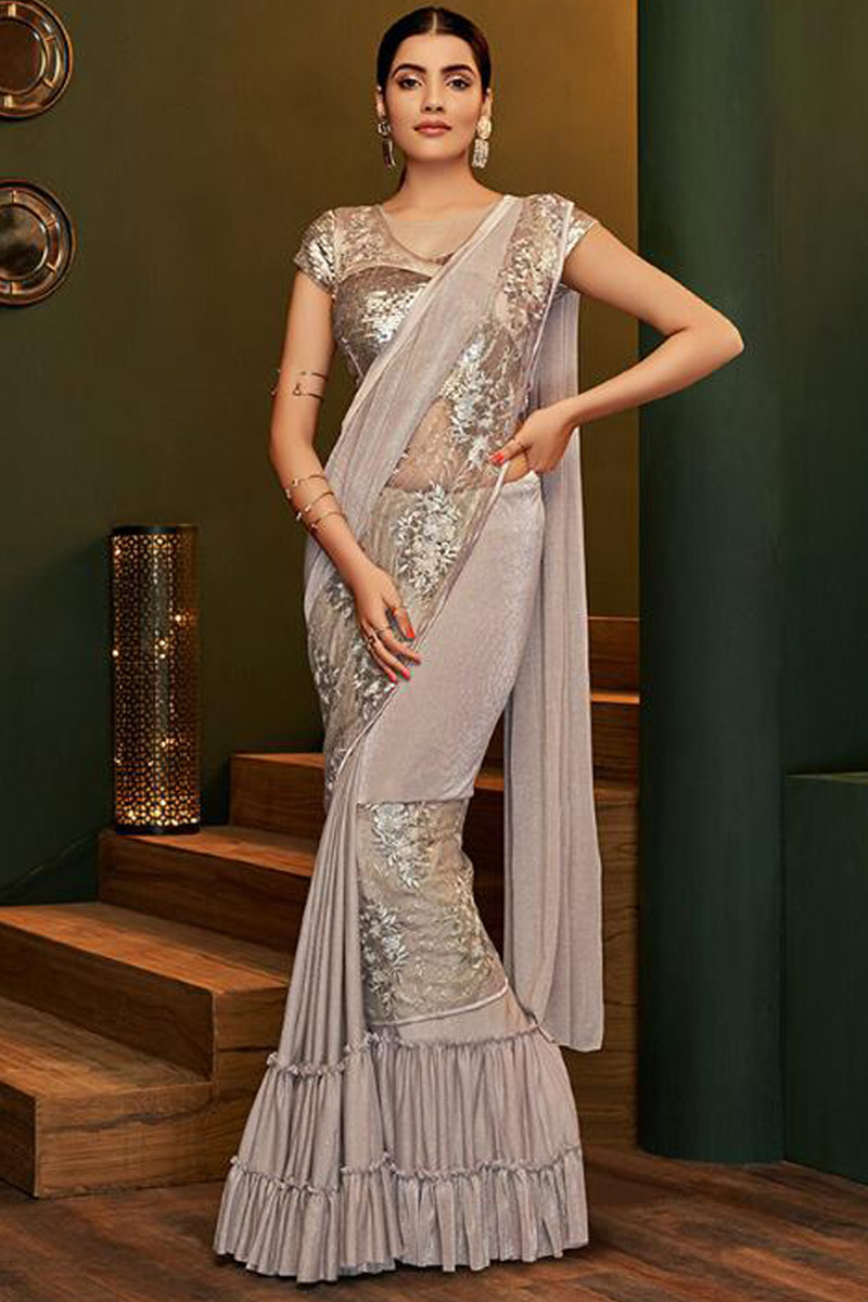 Pale Grey Shimmer Lycra Saree With Zari Work