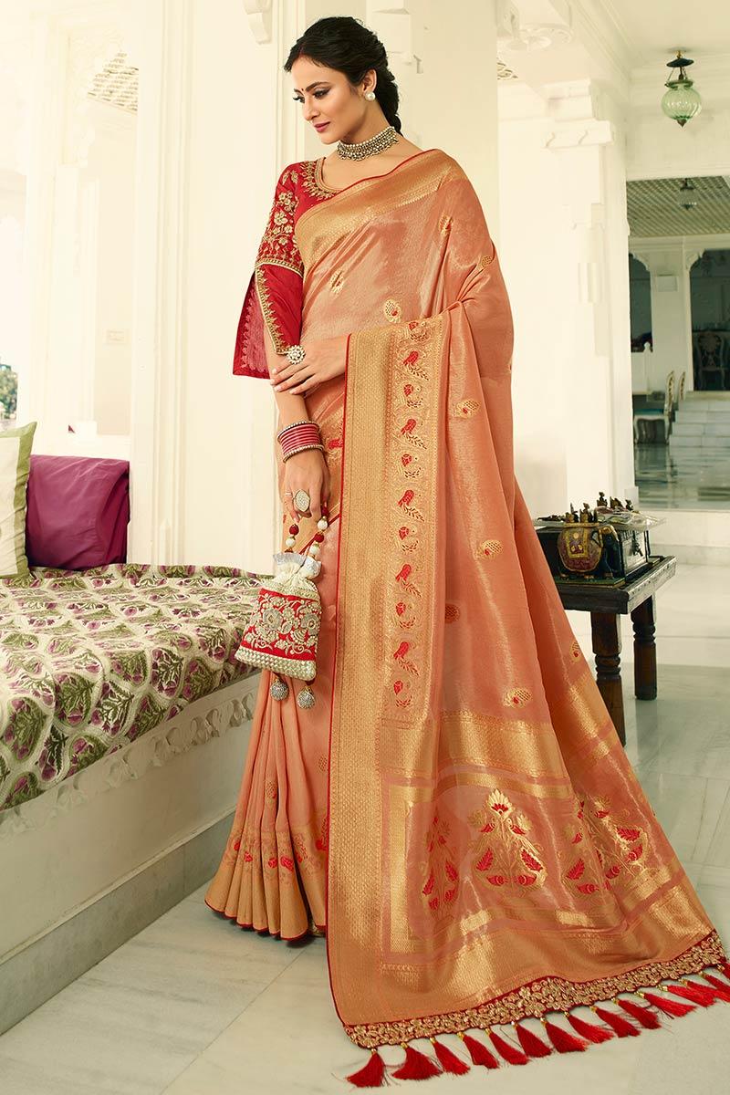 Pale Pink Banarasi Silk Saree With Banglori Silk Blouse