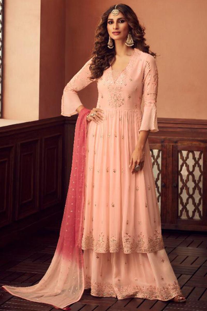 Pastel Pink Georgette Sharara Suit With Zari Work