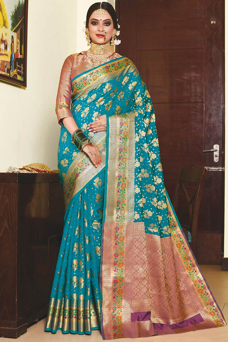 Peacock Blue Banarasi Silk Indian Wedding Saree