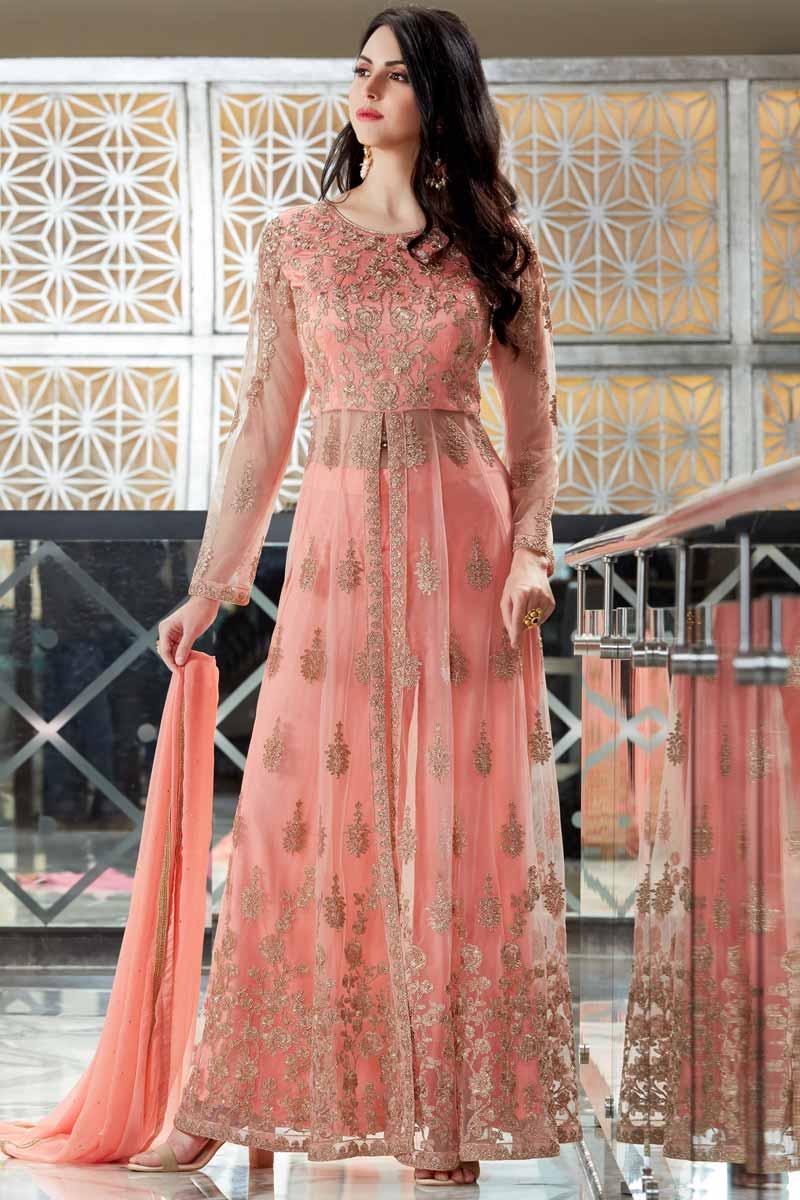 Buy Suit Net Pink Anarkali Suit Online - LSTV01486 ...