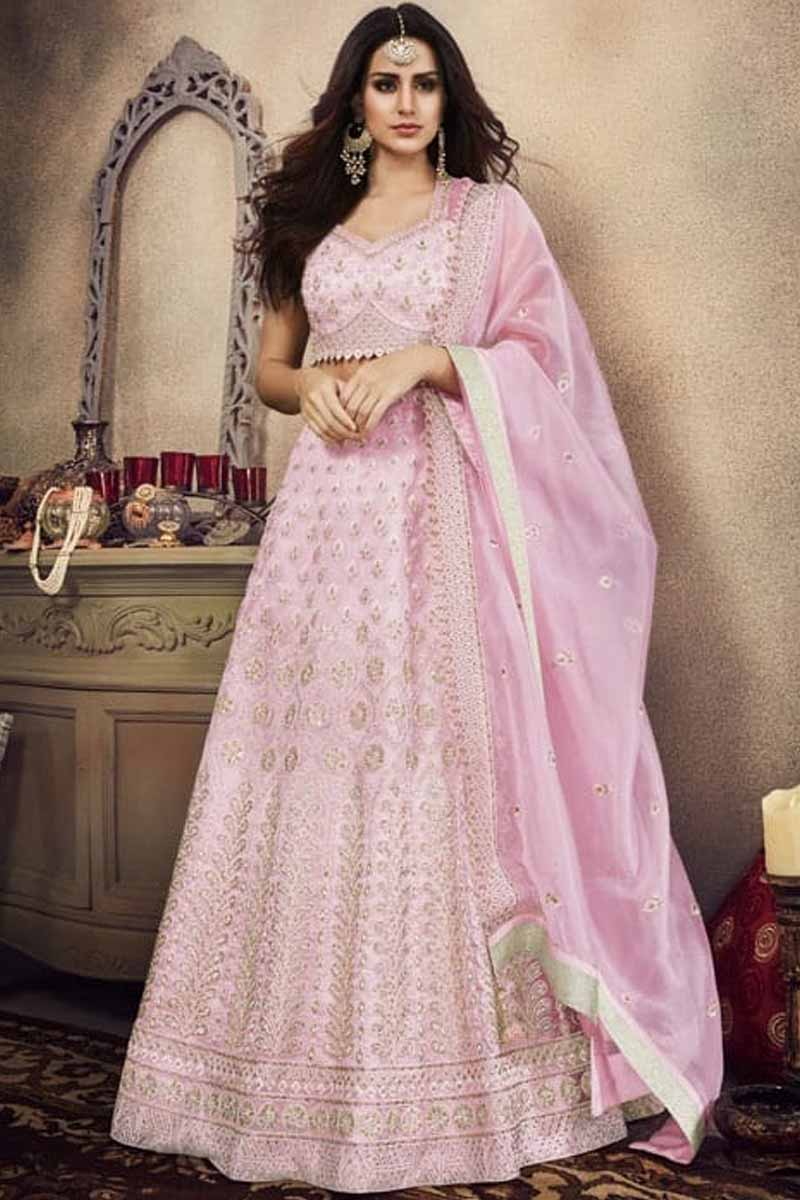 Light Pink Organza Lehenga Choli With Gota Patti Work