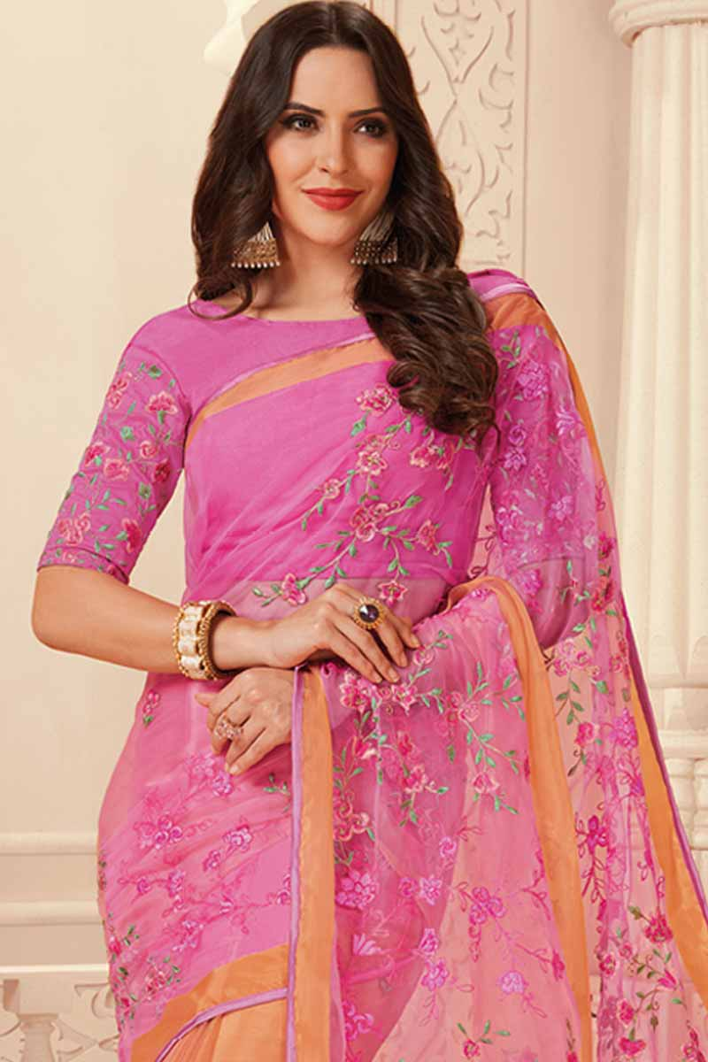 21f6caf4bb10ea Display Gallery Item 1 · Thumbnail Image of Pink With Golden Saree With Silk  Blouse