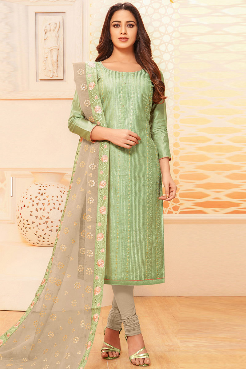 Pistachio Green Raw Silk Churidar Suit With Resham Work