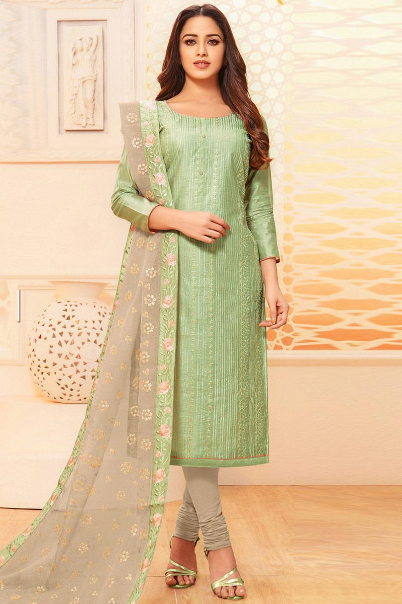 Pistachio Green Raw Silk Churidar Suit With Resham Work