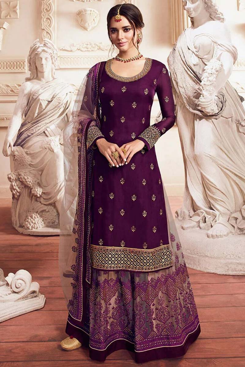 Plum Purple Silk Sharara Suit With Zari Work