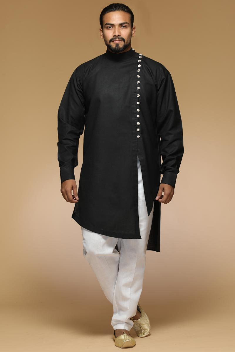 Pure Black Kurta Pajama With Traditional Design For Eid Festival