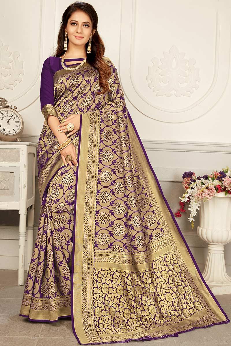 Purple Jacquard Silk Saree With Silk Blouse