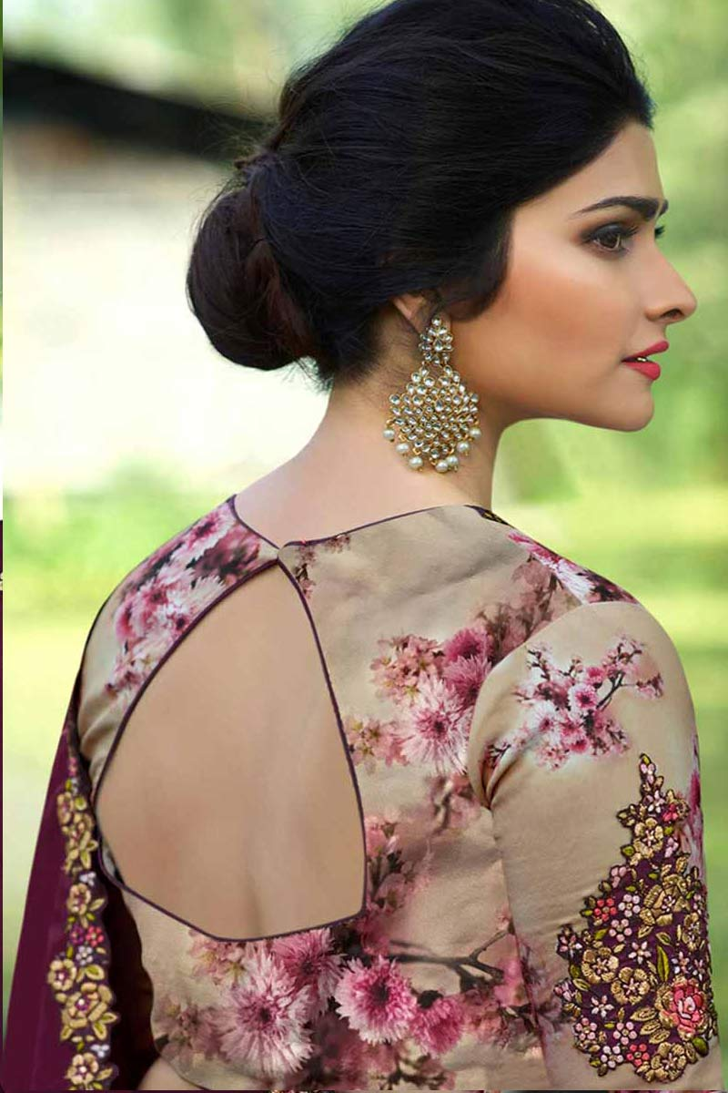 af4f35a4a08db Display Gallery Item 1  Thumbnail Image of Tyrian Purple Color Silk Saree  With Silk Blouse