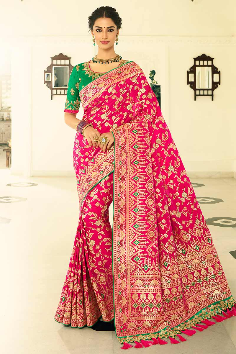 Rani Pink Banarasi Silk Saree With Banglori Silk Blouse
