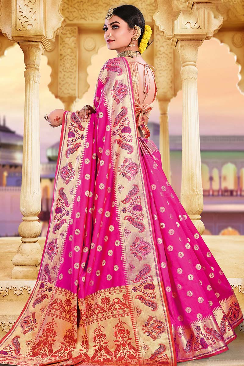 Rani Pink Bhagalpuri Silk Saree With Silk Blouse
