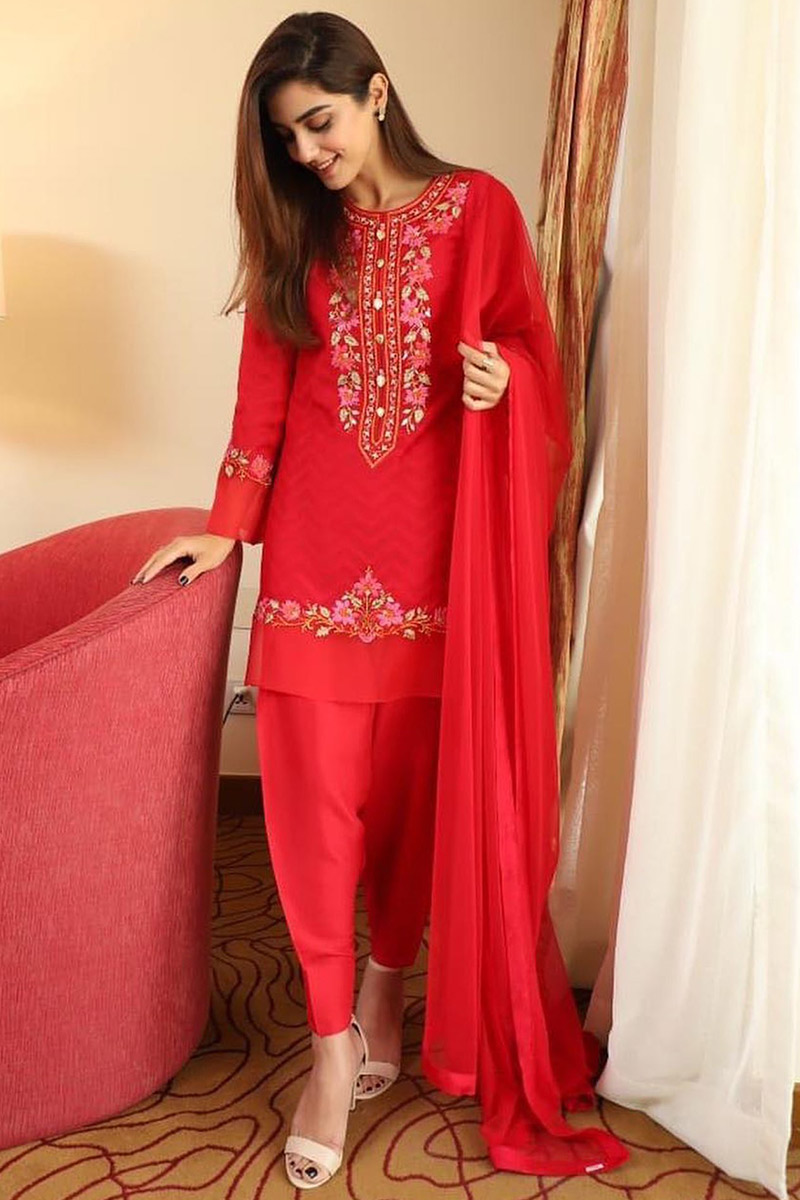 Red Banglori Silk Wedding Patiala Suit Resham Work