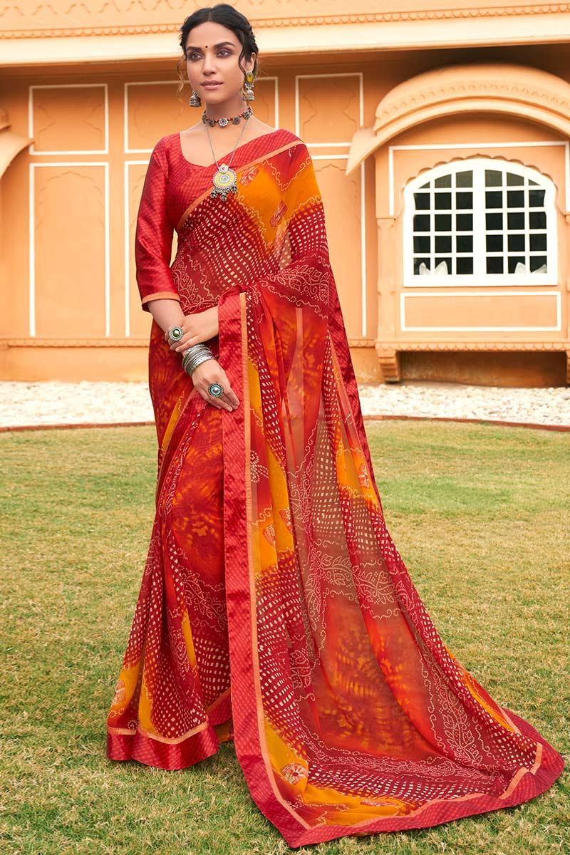 Red Georgette Bandhej Saree With Satin Bandhej Blouse