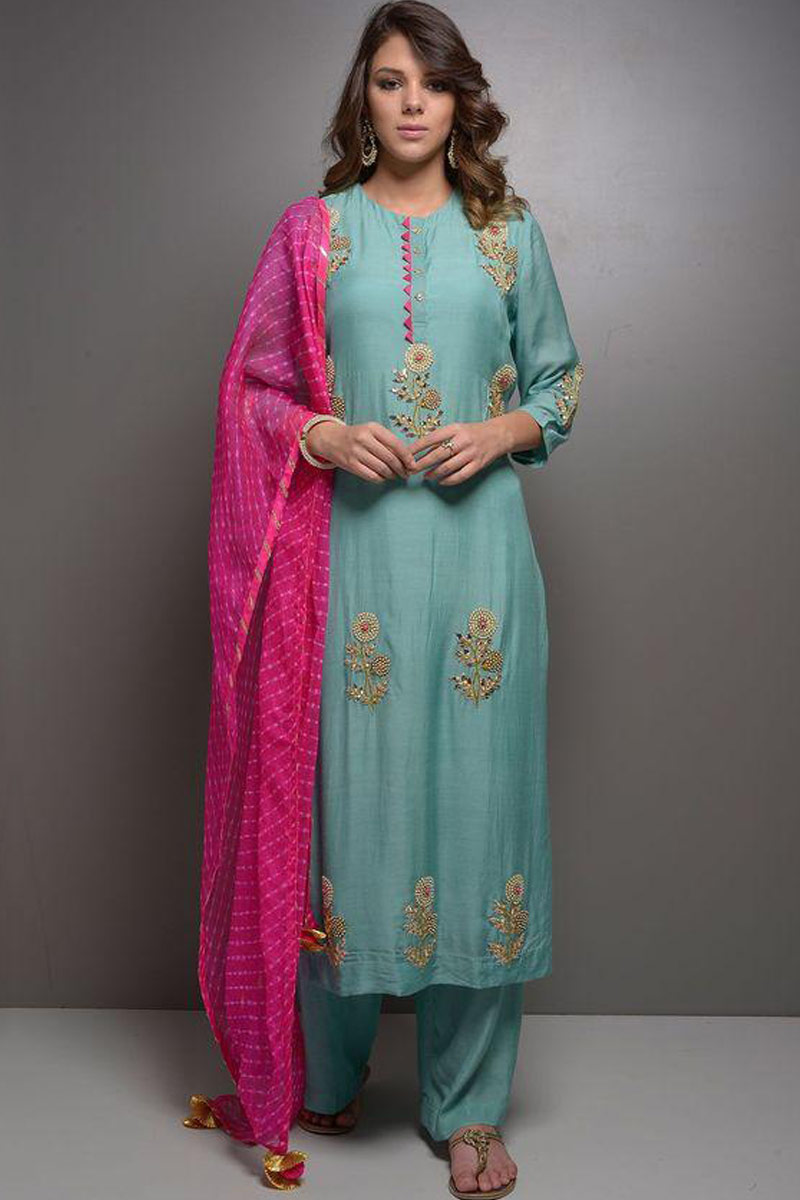 Palazzo Suits USA - Resham Embroidered Silk Light Blue Palazzo Pant Suit