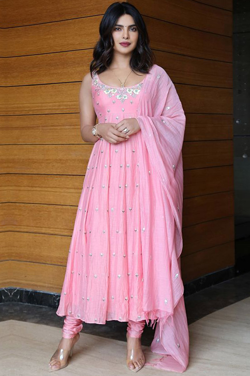 Priyanka Chopra Light Pink Silk Anarkali Suit
