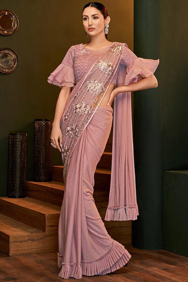 Shimmer Lycra Saree In Dusty Pink Colour