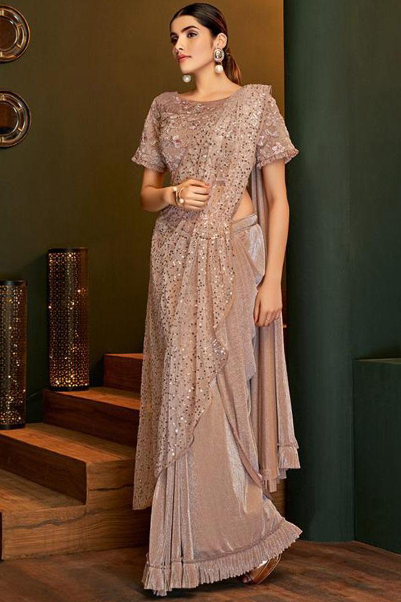 Shimmer Lycra Saree In Rose Gold Colour
