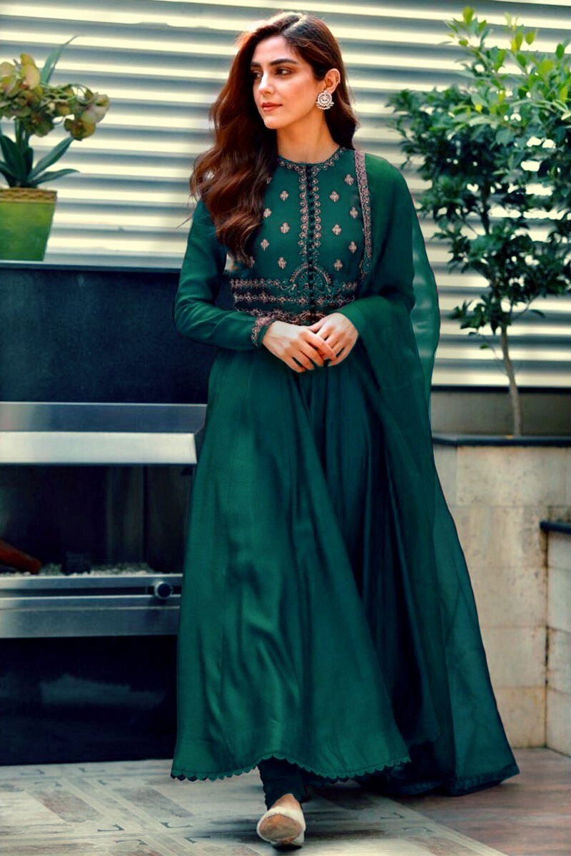 Silk Embroidered Anarkali Suit In Peacock Green Colour
