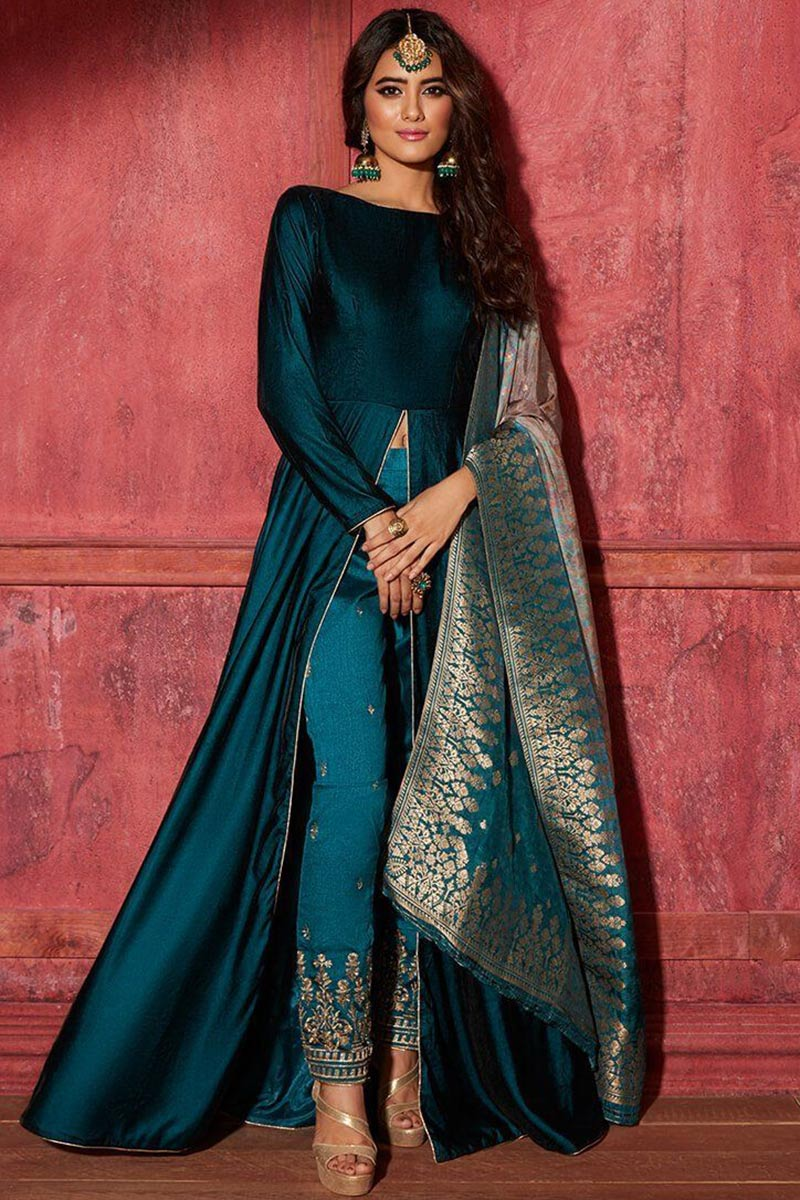 Silk Anarkali Suit In Peacock Green Colour