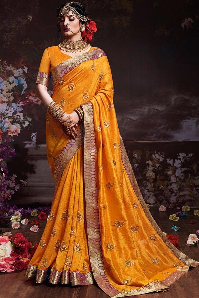 Turmeric Yellow Art Silk Saree With Art Silk Blouse