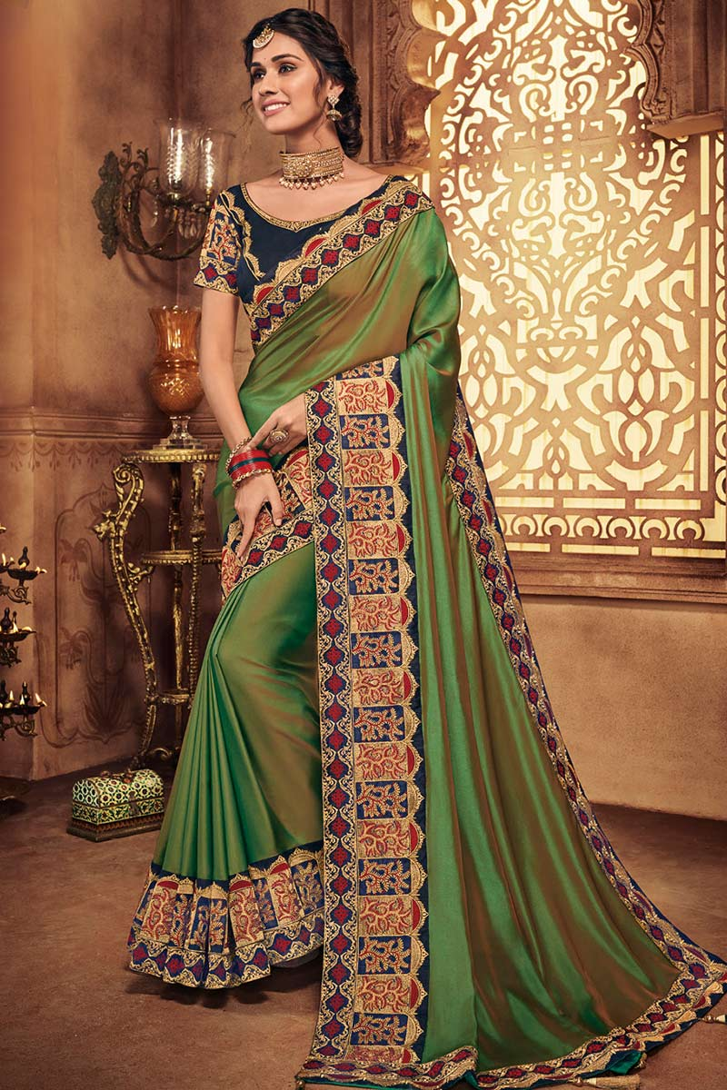 Two Tone Silk Saree In Green Colour